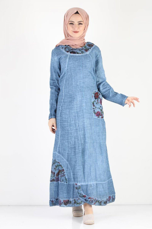 Tesettur Dunyasi Mavi Cicek Baskili Yazlik Elbise Elbisebul