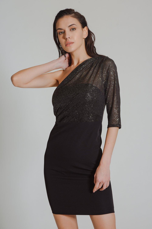 People By Fabrika Tek Omuzlu Siyah Mini Abiye Elbise