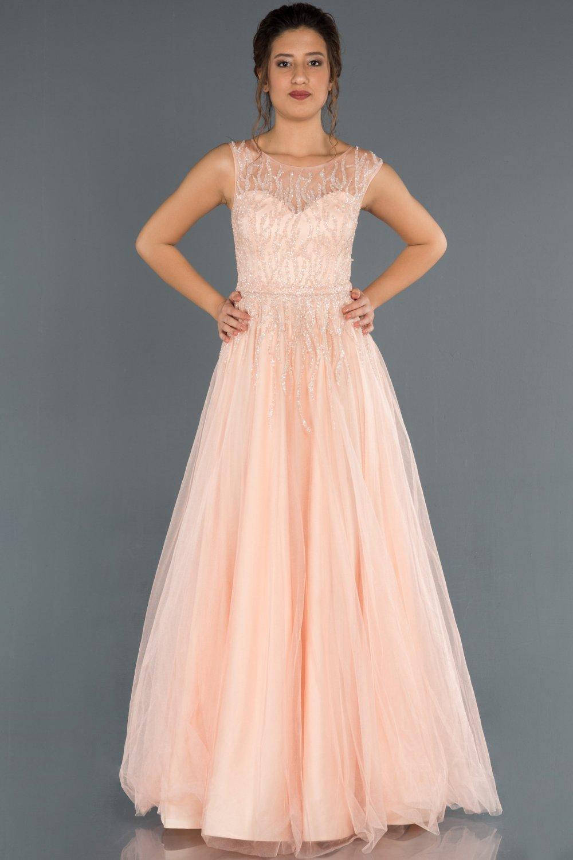 Abiyefon Somon Tas Islemeli Prenses Model Uzun Abiye Elbise