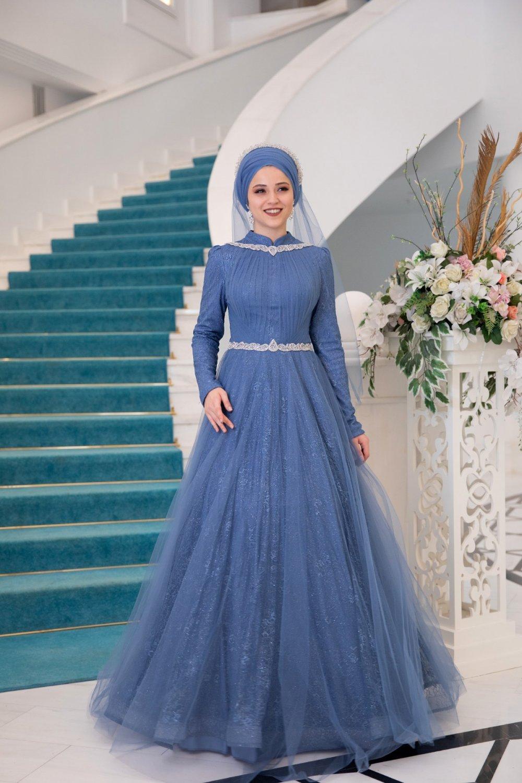 Al-Marah İndigo Rüya Abiye Elbise