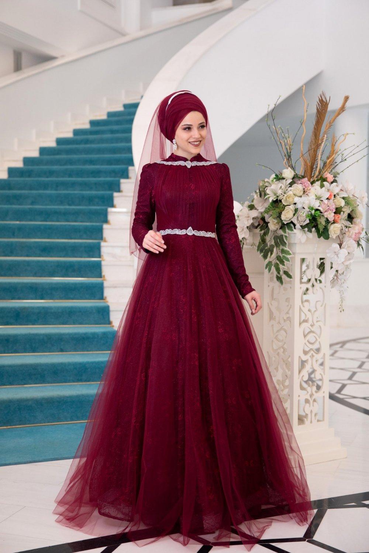 Al-Marah Bordo Rüya Kınalık Abiye Elbise