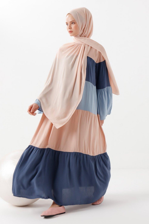 Phull Karışık Renkli Doğal Kumaşlı Elbise