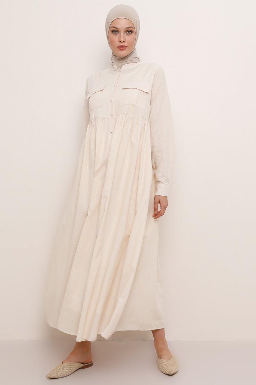Refka Bej Doğal Kumaşlı Hakim Yaka Keten Elbise