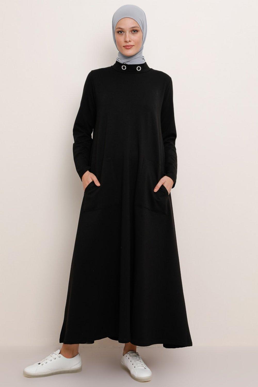 Refka Siyah Yakası Kuş Gözü Detaylı Cepli Elbise