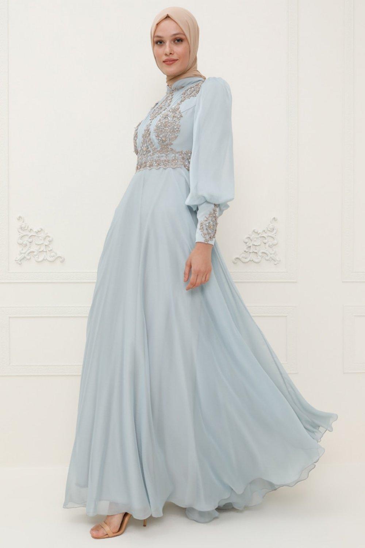 SomFashion Buz Mavisi Kayra Abiye Elbise