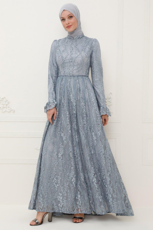 SomFashion Mavi Eylül Abiye Elbise