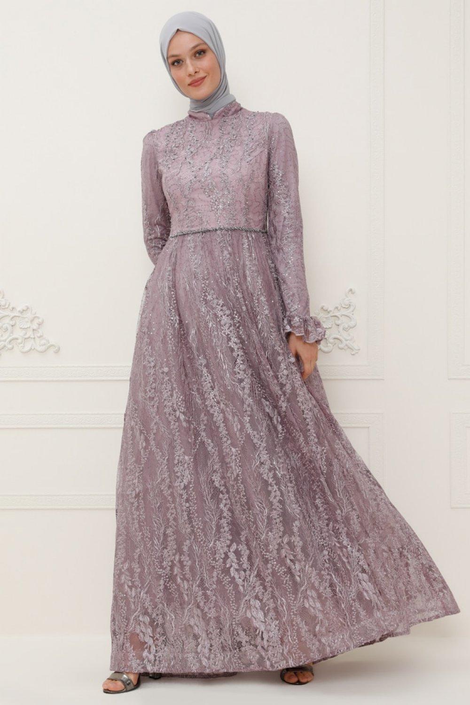 SomFashion Lila Eylül Abiye Elbise