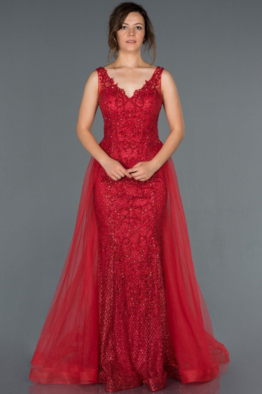 Abiyefon Askılı Kırmızı V Yaka İşlemeli Kuyruk Detaylı Uzun Abiye Elbise