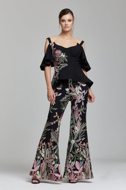 Rengin Siyah Yeşil Payetli Çiçek Desenli Bluz Pantolon Takım