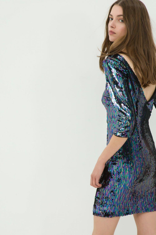 Koton Sırt Dekolteli Sırt Detaylı Mavi Mini Abiye Elbise