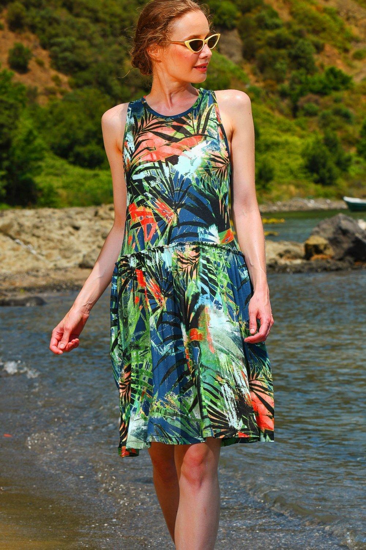 Trend Alaçatı Stili Multi Çiçek Desenli Kloş Midi Elbise
