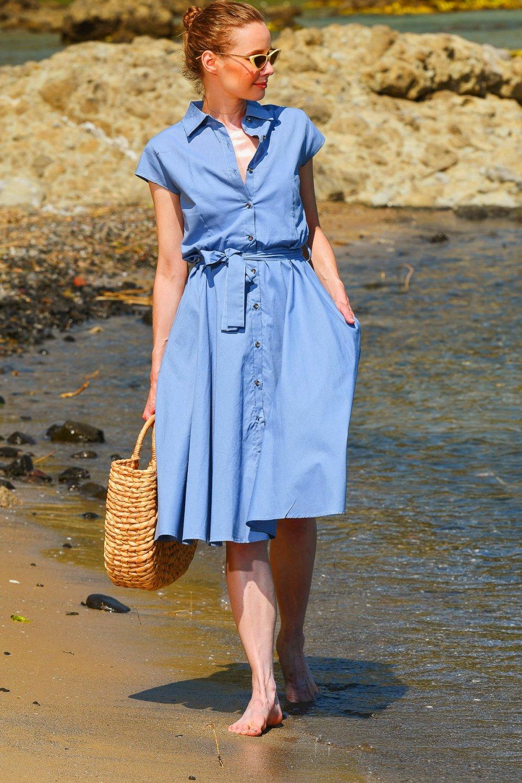 Trend Alaçatı Stili Mavi Dokuma Midi Gömlek Elbise