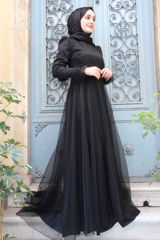 Zehrace Siyah Hayal Abiye Elbise
