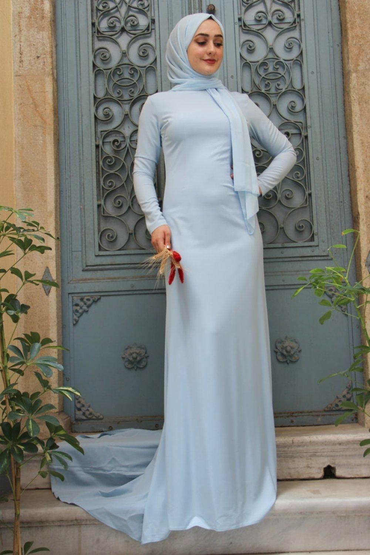 Zehrace Buz Mavi Sıla Abiye Elbise