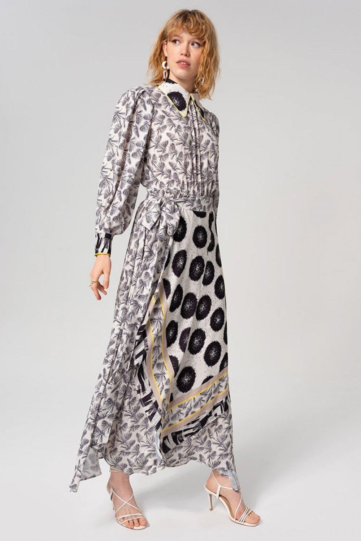 MİHA Renkli Desenli Elbise