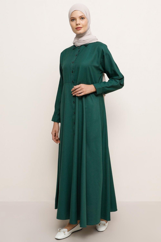 Everyday Basic Orman Yeşili Boydan Düğmeli Elbise