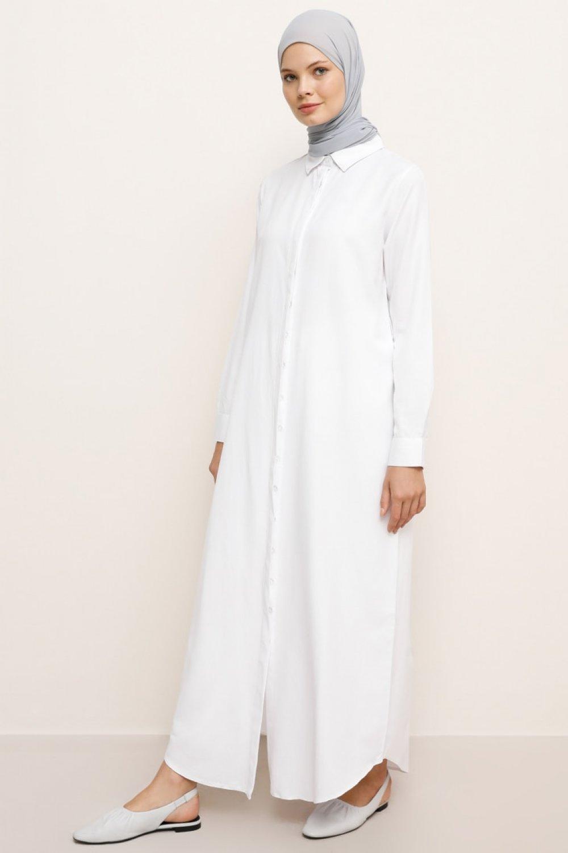 Everyday Basic Doğal Kumaşlı Gizli Düğmeli Uzun Gömlek Elbise Beyaz
