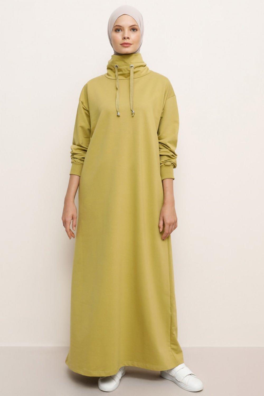 Everyday Basic Yağ Yeşili Boğazlı Yaka Cepli Spor Elbise