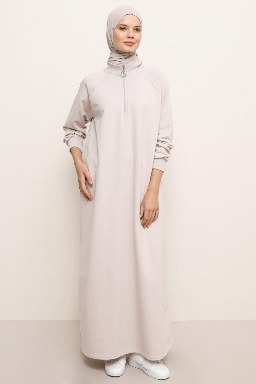 Everyday Basic Pudra Fermuar Detaylı Spor Elbise