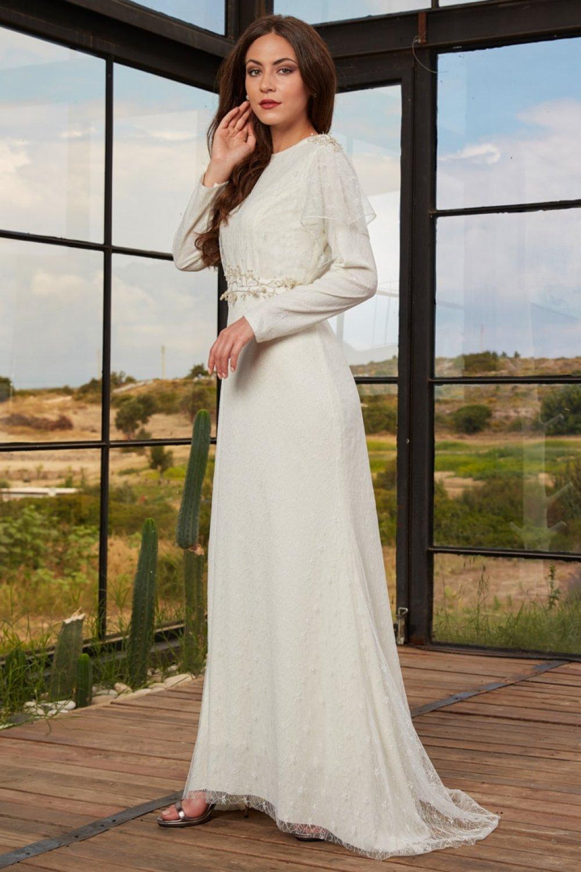 An-Nahar Ekru İzgi Abiye Elbise