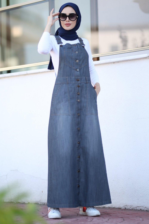 Neways Gri Askılı Kot Elbise