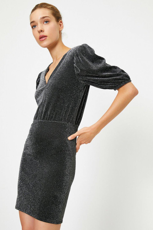 Koton V Yaka Parlak Gümüş Rengi Mini Abiye Elbise