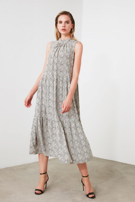 Trendyolmilla Taş Desenli Midi Elbise