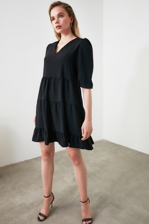Trendyolmilla Siyah V Yaka Geniş Kesim Mini Elbise