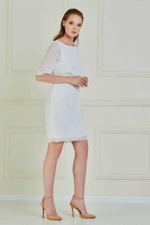Jeanne Darc Beyaz Çiçek Desen İncili Mini Abiye Elbise