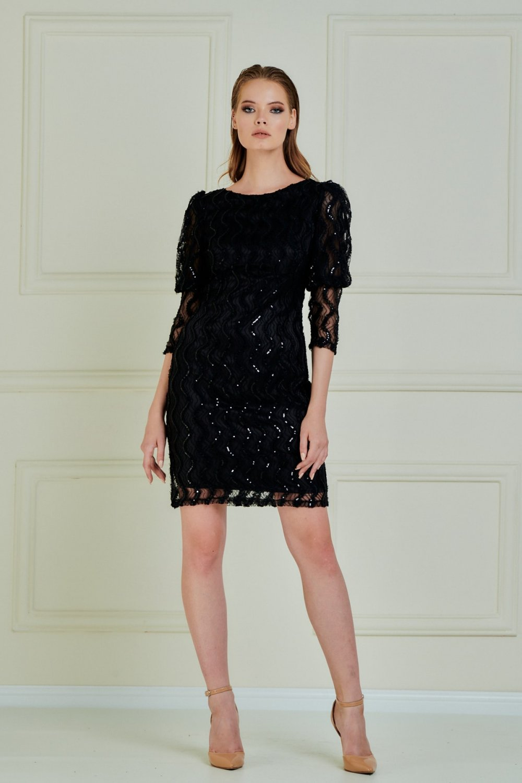 Jeanne Darc Siyah Balon Kollu Şerit Pul Payet Kumaş Mini Abiye Elbise