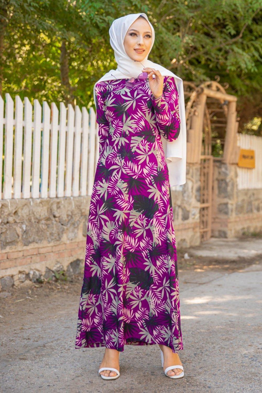 Tofisa Mor Desenli Elbise