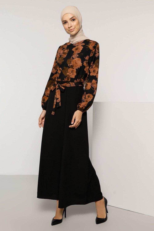 Tavin Siyah Çiçek Desenli Elbise