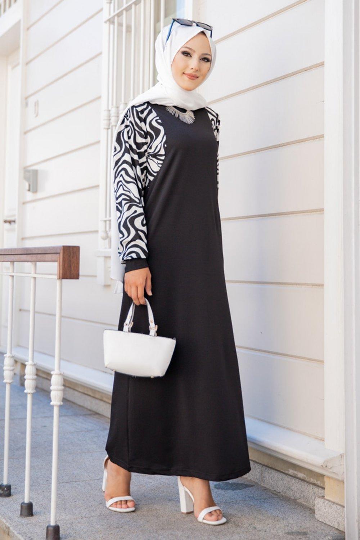 Tofisa Siyah Zebra Desenli Elbise