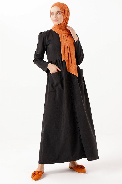 Phull Siyah Doğal Kumaşlı Cepli Elbise