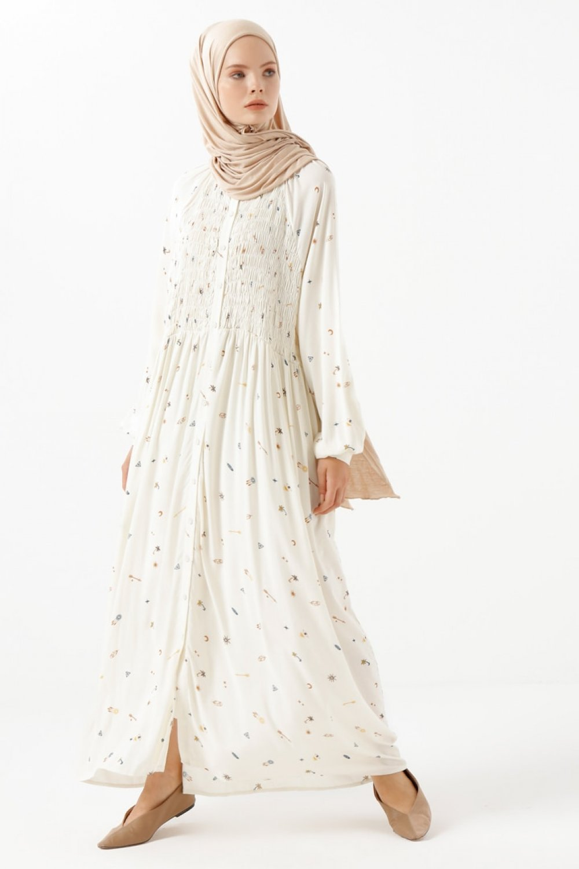 Phull Ekru Desenli Elbise