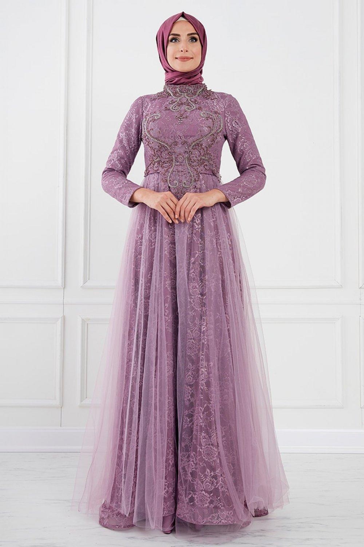 Moda Sinanlar Gül Kurusu Aden Abiye Elbise