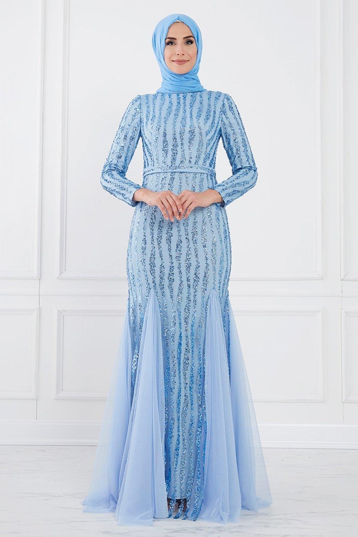 Moda Sinanlar Bebe Mavisi Ahsa Abiye Elbise