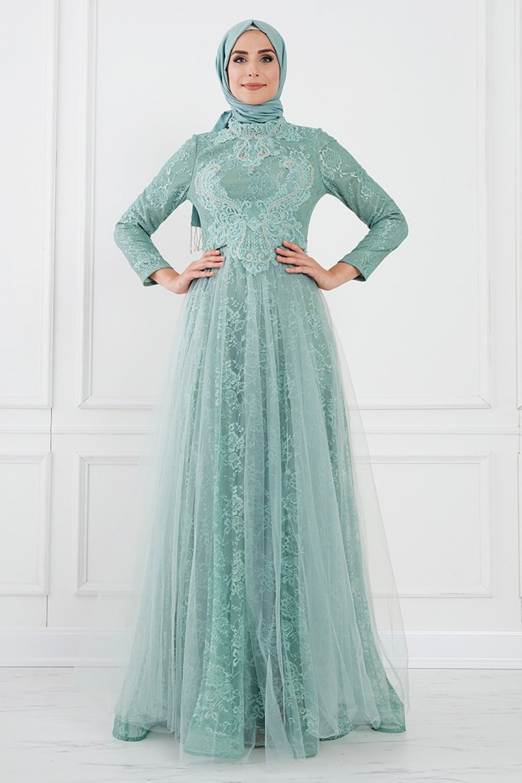 Moda Sinanlar Petrol Yeşili Aden Abiye Elbise