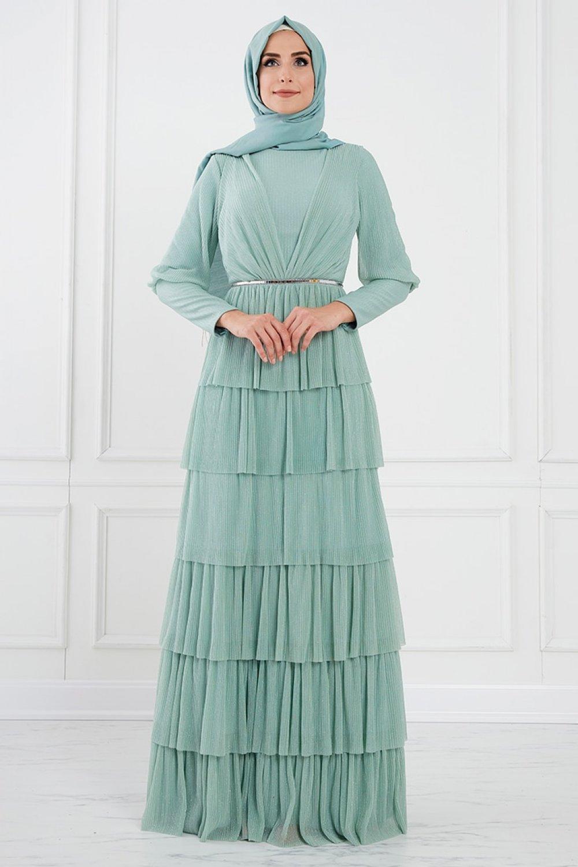 Moda Sinanlar Mint Yeşili Bengi Abiye Elbise