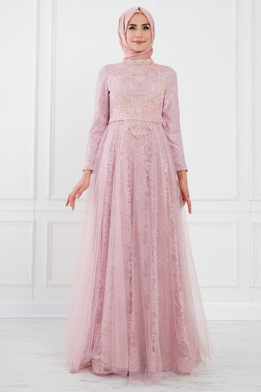 Moda Sinanlar Pudra Aden Abiye Elbise