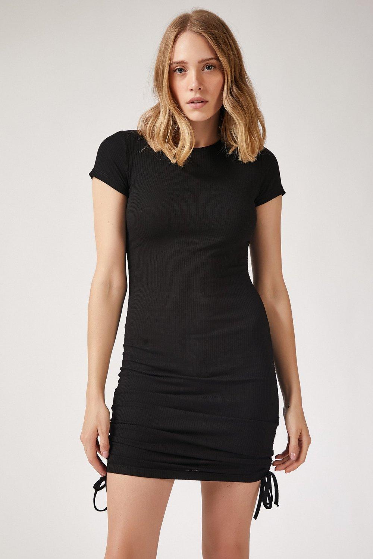 Happiness İst. Siyah Büzgülü Fitilli Mini Örme Elbise