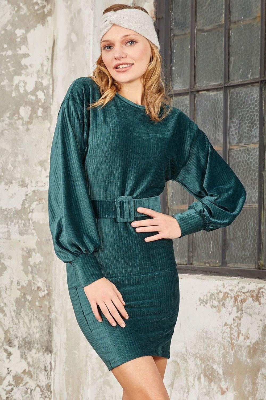 Mispacoz Yeşil Kadife Fitilli Zümrüt Mini Elbise