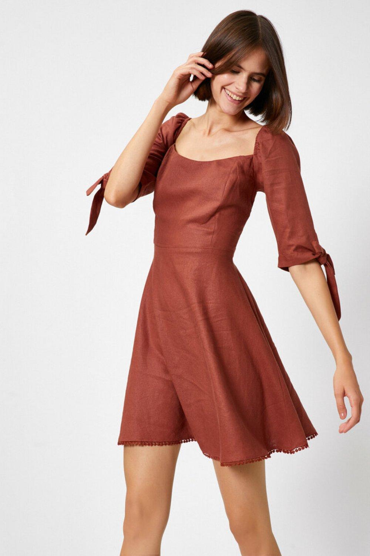 Koton Bağlama Detaylı Kahve Mini Elbise