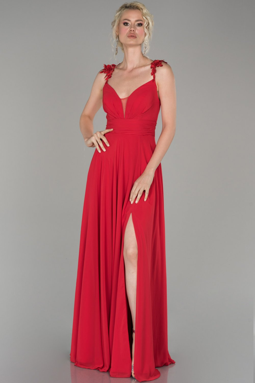 Abiyefon Askılı Kırmızı Şifon Uzun Abiye Elbise