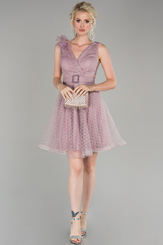 Abiyefon Pudra Simli Mini Abiye Elbise
