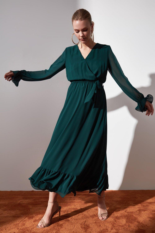 Trendyolmilla Yeşil Kuşaklı Kruvaze Yaka Uzun Elbise