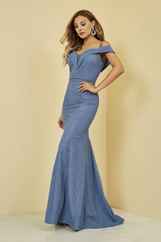 Sateen Askılı Mavi Uzun Balık Abiye Elbise