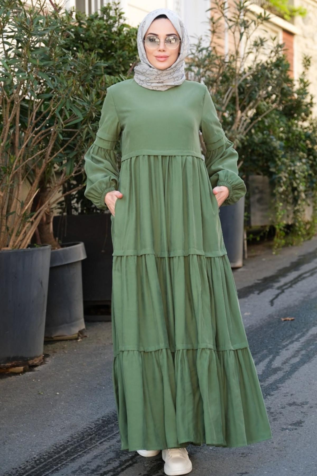 Neways Yeşil Balon Kol Elbise