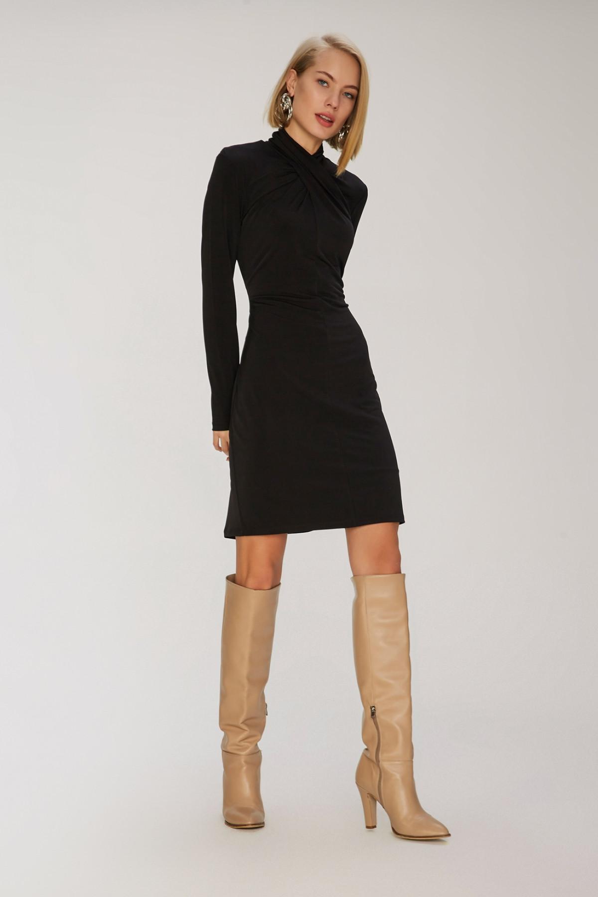 People By Fabrika Siyah Büzgü Detaylı Mini Elbise