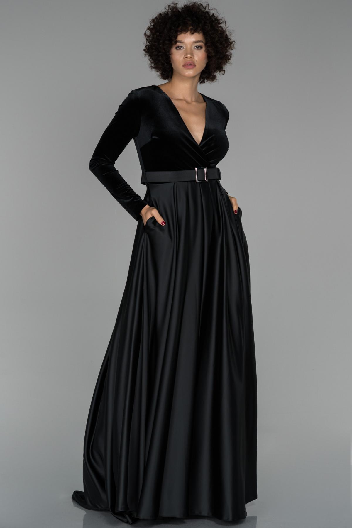 Abiyefon Siyah Uzun Kol V Yaka Kadife Abiye Elbise